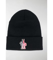 moncler grenoble logo beanie hat
