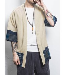 hombre casual algodón soft cárdigan de frente abierto con protector solar con estampado tribal
