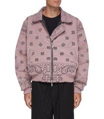 bandana print zip front bomber jacket