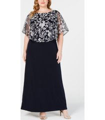connected plus size embroidered capelet gown