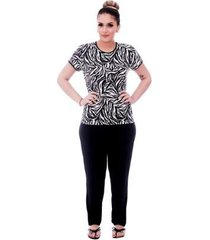 pijama feminino blusa animal print de zebra viés calça comprida