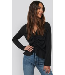 na-kd drawstring long sleeve blouse - black