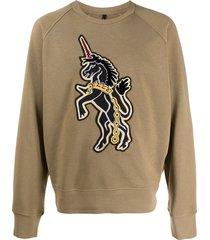 neil barrett art school unicorn patch sweatshirt - green
