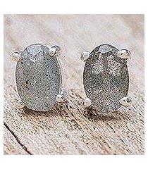 labradorite stud earrings, 'oblong moon' (thailand)