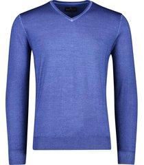 portofino trui mouwlengte 7 wol v-hals blauw