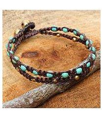brass braided bracelet, 'aqua boho chic' (thailand)