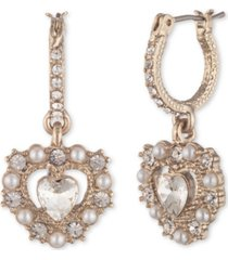 marchesa gold-tone imitation pearl heart drop earrings