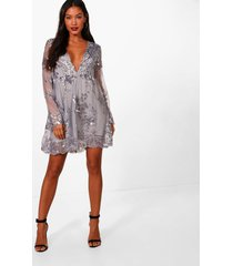 ellie sequin and mesh long sleeve skater dress, silver
