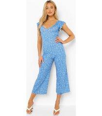 culotte jumpsuit met laag decolleté en stippen, blue