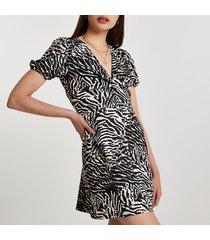 river island womens beige short sleeve zebra mini dress