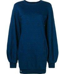 philipp plein long logo sweatshirt - blue