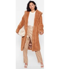 womens searched faux fur and wide longline hooded coat - camel