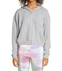 women's area crystal trim crop zip hoodie