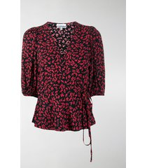 ganni printed wrap blouse