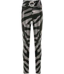 philipp plein crystal zebra leggings - black