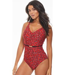 mala underwire belted leopard print tummy control one-piece swimsuit d-gg