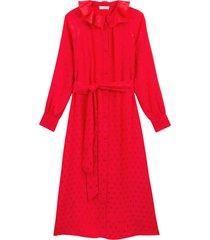 jacquardmönstrad, halvlång skjortklänning med lång ärm