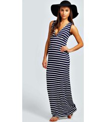 petite plunge striped jersey maxi dress, navy
