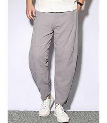 hombres estilo chino algodón lino color sólido casual suelto pantalones
