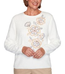 alfred dunner petite glacier lake embroidered chenille sweater
