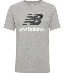 essentials stacked logo t t-shirts short-sleeved grå new balance