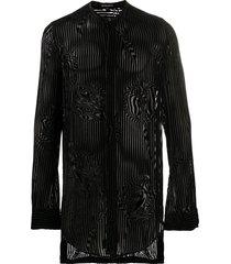 ann demeulemeester striped tunic shirt - black