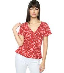 blusa rojo-blanco mng