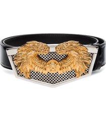 versace shield plaque belt - black