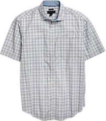 pronto uomo blue & tan plaid classic fit short sleeve sport shirt