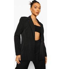 mix & match felle geplooide getailleerde blazer, black