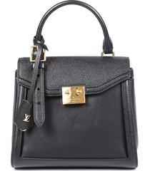 louis vuitton the lv arch pm calf leather satchel bag black sz: s