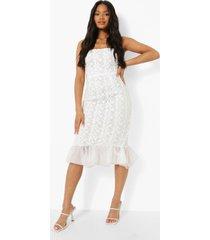 strapless midi jurk met geplooide kanten zoom, white