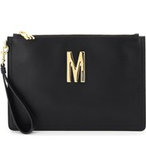 moschino leather pouch with monogram