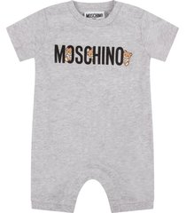 moschino grey babykids rompers with logo and teddy bears