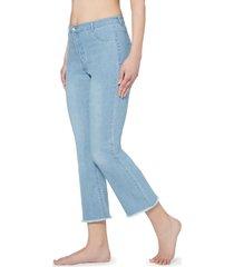 jeans cropped flare con zip e tasche
