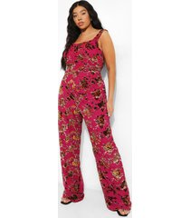 plus wide leg bloemen jumpsuit met korset detail, pink