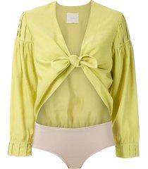 framed athena bodysuit - yellow