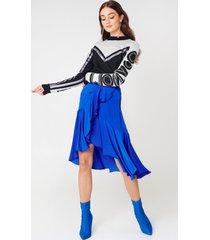 na-kd boho flounce satin skirt - blue