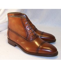 handmade men brown cap toe lace up boots, ankle boots for mens, men boots