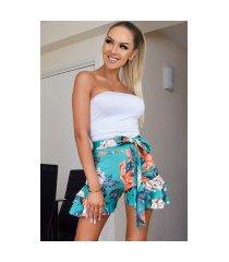 ariel bloemen-print ruches shorts groen
