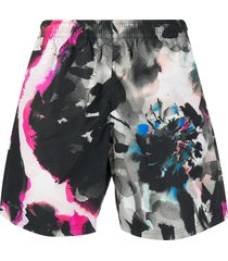 alexander mcqueen watercolour effect swim shorts - white