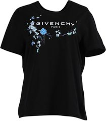black and blue floral graphic t-shirt