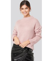 adorable caro x na-kd wide rib knitted sweater - pink
