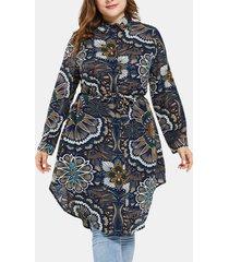 colletto con risvolto annodato asimmetrico con stampa etnica plus abito lungo con camicetta taglia