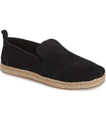 women's toms classic espadrille slip-on, size 7 m - black