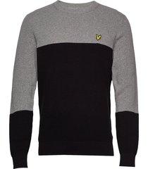 colour block knitted jumper stickad tröja m. rund krage grå lyle & scott