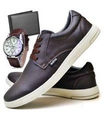 tênis sapatênis casual fashion com carteira e relógio masculino dubuy 1401el marrom