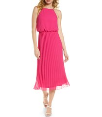 women's sam edelman pleated chiffon midi dress, size 10 - pink