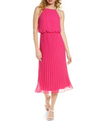 women's sam edelman pleated chiffon midi dress, size 14 - pink