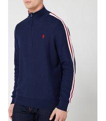 polo ralph lauren men's tape detail quarter zip sweatshirt - newport navy/polo sport - xxl
